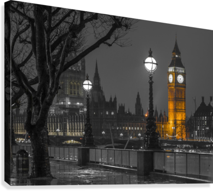London cityscape in evening from Thames promenade  Canvas Print