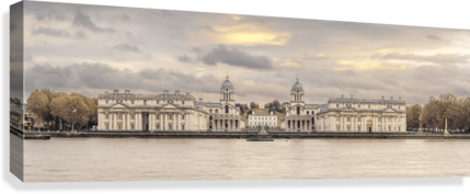 Royal Naval College at Greenwich with a view from the River Thames  Canvas Print
