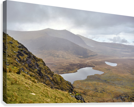 Mountain top view through Conors Pass co. kerry Ireland Europe 2018  Canvas Print