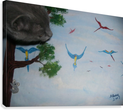 Real Kitty Hunting The Macaws  Canvas Print
