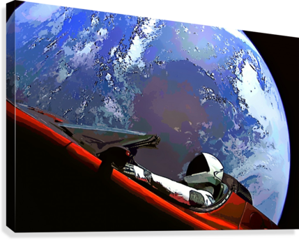 StarMan in Tesla Above Planet Earth  Canvas Print