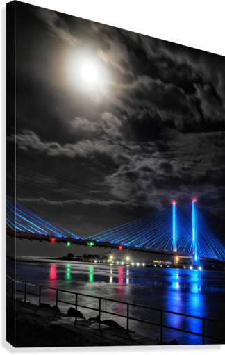Blood Moon over the Indian River Bridge  Canvas Print