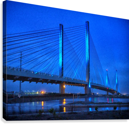 Blue Bridge In The Rain At Indian River Inlet  Canvas Print