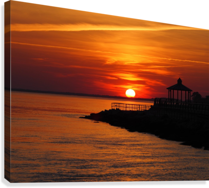 Sunset Over Indian River Inlet And Bay  Canvas Print