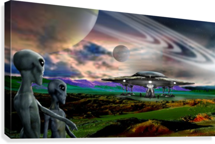 Explorers from Earth  Canvas Print