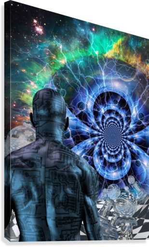 Cyborg in Surreal Space  Canvas Print