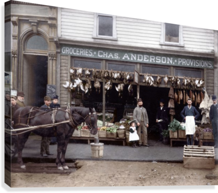 Chas Anderson Grocery Vancouver 1890s  Canvas Print