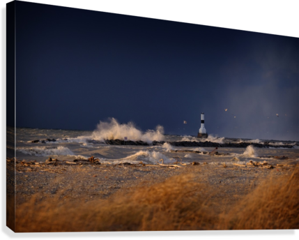 Lighthouse at Conneaut Ohio on Lake Erie during storm  Canvas Print