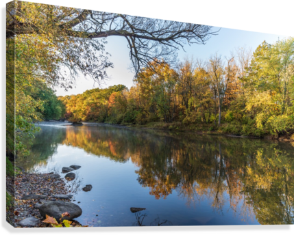 Autumn morning on the Grand River at Mechanicsville Ohio  Canvas Print