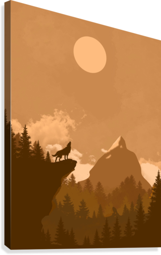 Mountain Wolf Day  Canvas Print