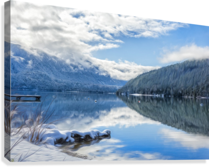 Snowy Day on the Lake  Canvas Print