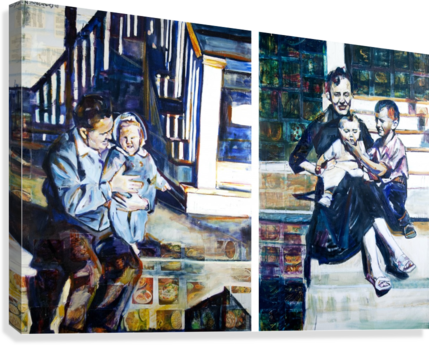 Louisiana father and Mother at the Stairs Diptych with Vintage Recipe Collage  Canvas Print