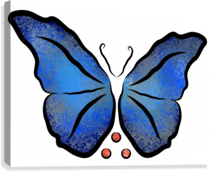 Deonioro - deep blue night butterfly with pearls  Canvas Print