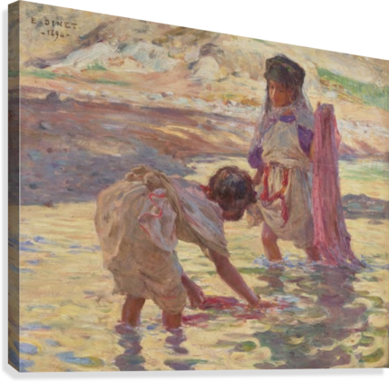 Children playing in the water  Canvas Print