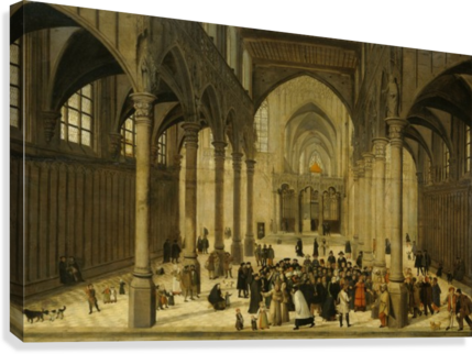 Church interior with Christ preaching to a crowd  Canvas Print