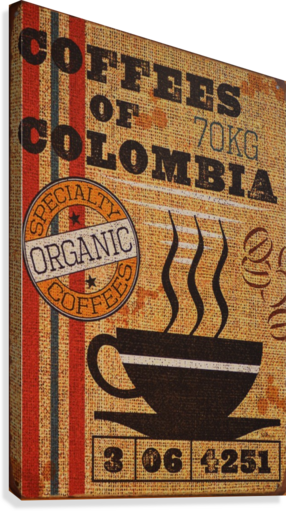 Colombian coffee vintage poster  Canvas Print