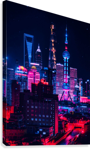 NEON CITY CREATIVE ART  Canvas Print