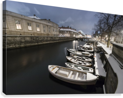 First snow in Copenhagen canal  Canvas Print