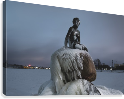 Frozen statue of The Little Mermaid  Canvas Print