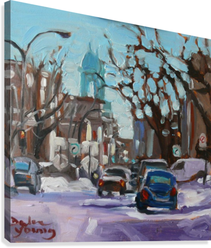 MONTREAL WINTER SCENE, PETITE ITALIE DARLENE YOUNG CANADIAN ARTIST  Canvas Print