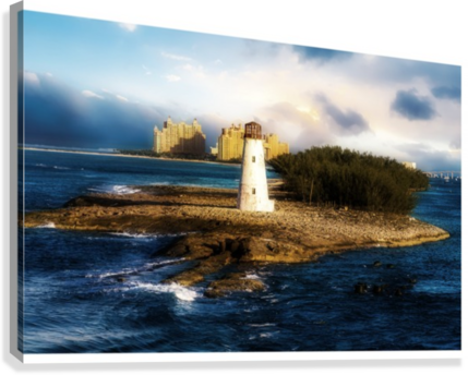 Bahamas Lighthouse with Resort Soft  Canvas Print
