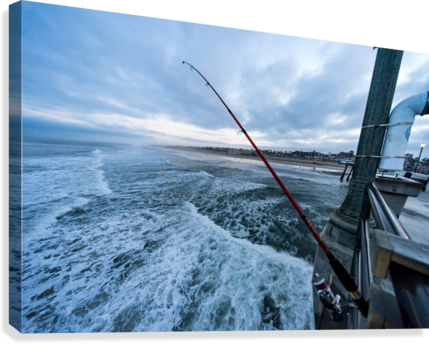 Fishing in Huntington Beach  Canvas Print
