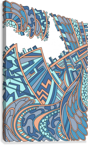Wandering Abstract Line Art 01: Blue  Canvas Print