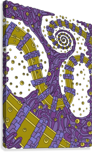 Wandering Abstract Line Art 02: Purple  Canvas Print