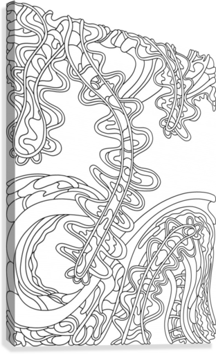 Wandering Abstract Line Art 07: Black & White  Canvas Print