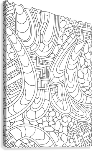 Wandering Abstract Line Art 09: Black & White  Canvas Print