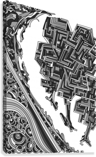 Wandering Abstract Line Art 12: Grayscale  Canvas Print