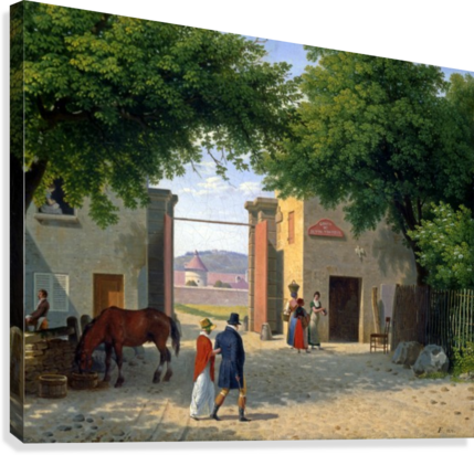 Figures walking around a villa near Rome Canvas print