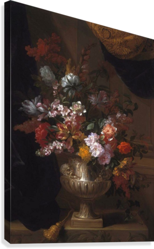 Flowers in a sculpted urns on a ledges  Canvas Print