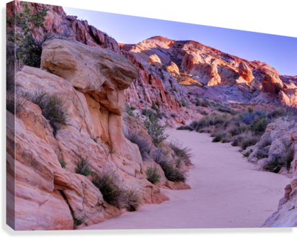 Sunrise over Valley of Fire Wash - Nevada  Canvas Print