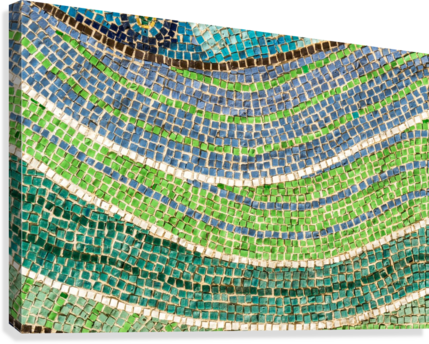 Tessellated Abstracts and Impressions - Free Form Meadows and Flowerbeds in Green and Blue  Canvas Print