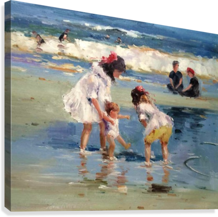 Girls playing in the water  Canvas Print