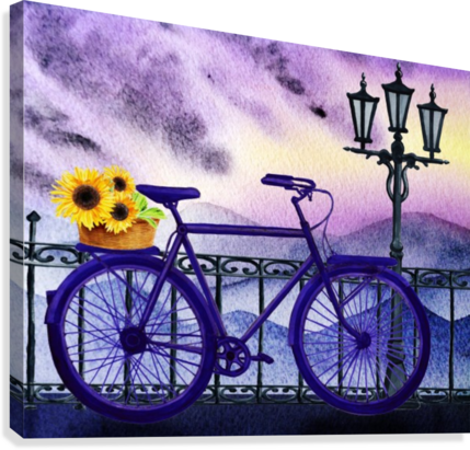 Bicycle And Sunflowers  Canvas Print