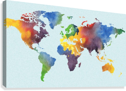 Bright Watercolor Map Of The World  Canvas Print