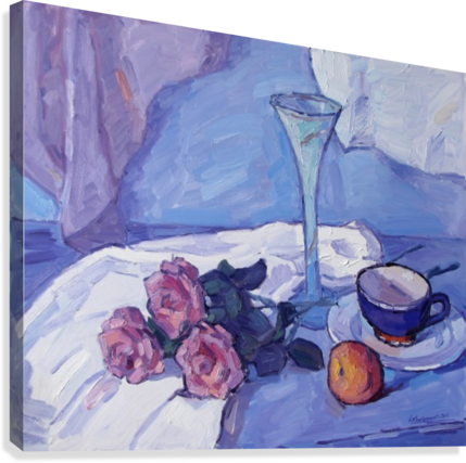 Still Life with Purple Roses  Canvas Print