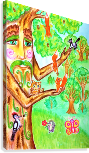 The tree of the prophetic wood and the friends of the wood  Canvas Print