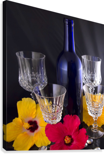 Blue Wine Bottle With Crystal and Tropical Flowers  Canvas Print