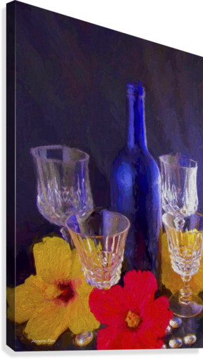 Painterly Blue Wine Bottle with four Crystal and Tropical Flowers  Canvas Print