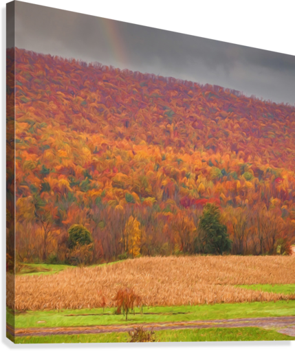Painted Fall In The Mountains  Canvas Print