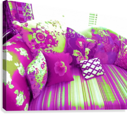 Sofa & Pillows -- Purple & Green  Canvas Print