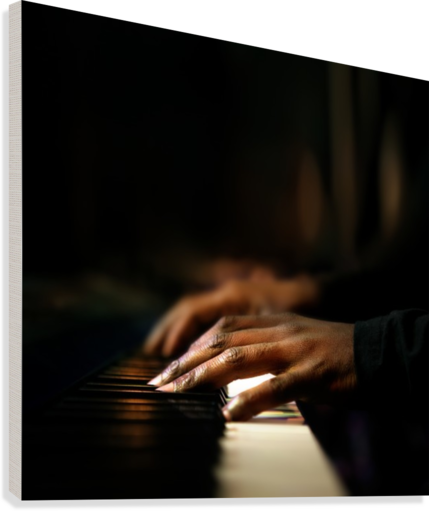 Hands playing piano close-up  Canvas Print