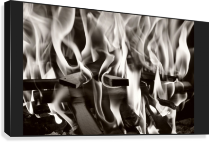Black and white fire   Canvas Print
