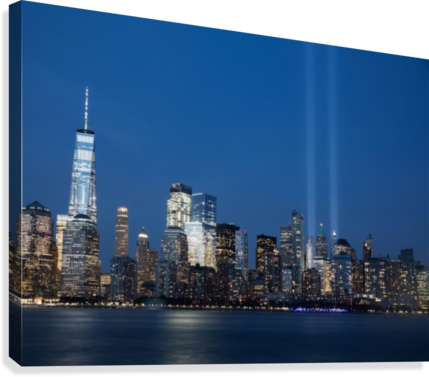 911 Memorial Lights NYC skyline  Canvas Print