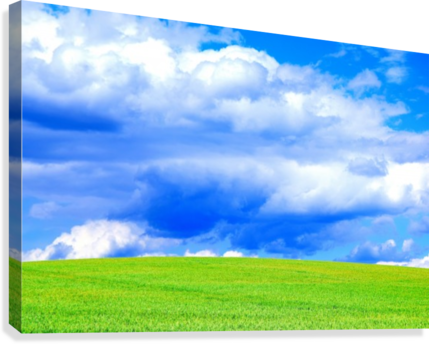Blue Sky Clouds Field Bright Colorful Scenery Background   Canvas Print