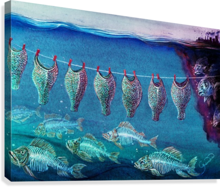 Fish cleaning by Krzysztof Grzondziel  Canvas Print