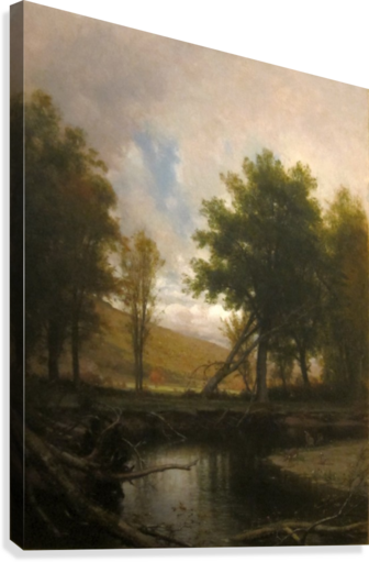 Landscape with Stream and Deer  Canvas Print